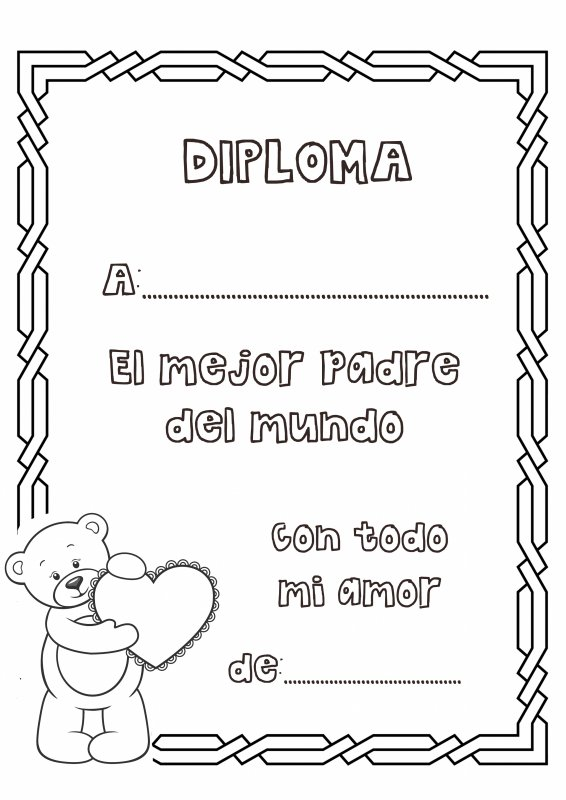Dibujos para colorear. Diploma al mejor padre del mundo