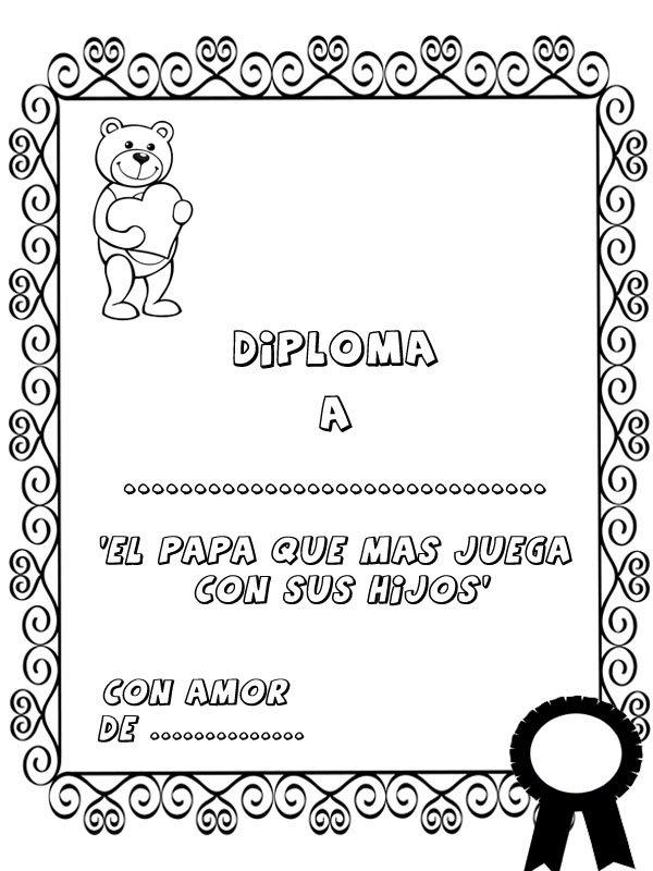 para colorear Diploma al padre que ms juega