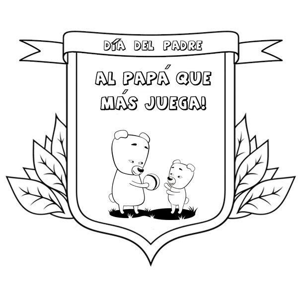 Dibujos para pintar con niños. Medallas al papá que más juega