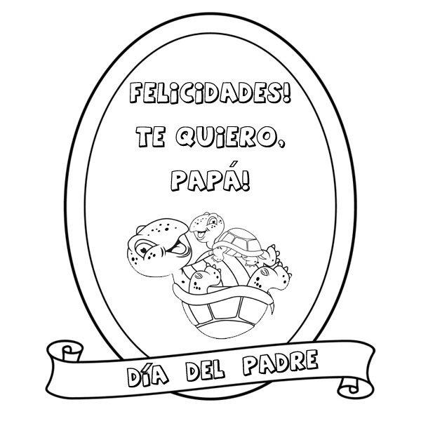 Dibujos para colorear con niños. Medalla Día del Padre