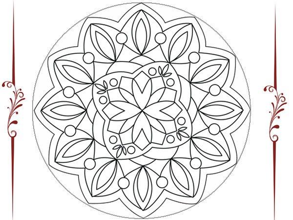 Dibujo de un mandala de flores para imprimir