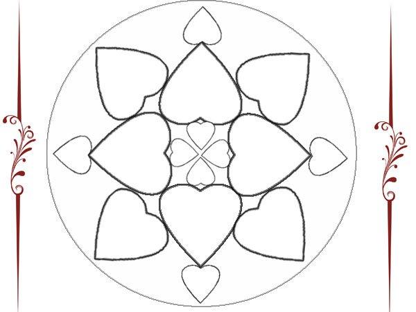 Mandala De Corazones Para Pintar