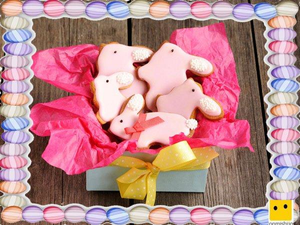 Decoración de galletas de Pascua. Cesta de conejos