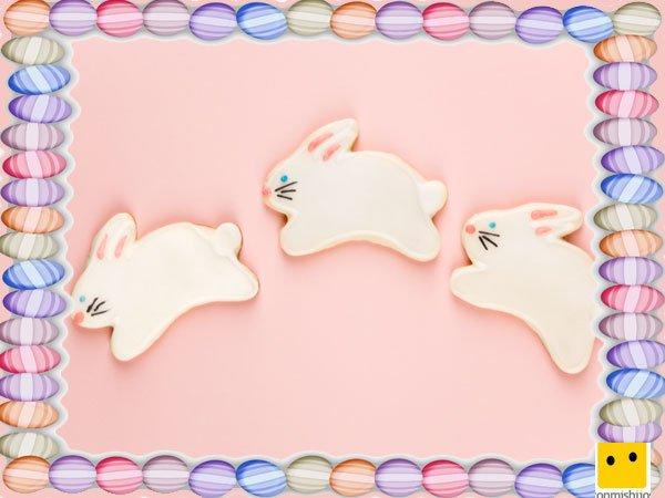 Decoración de galletas de Pascua. Conejos con azúcar