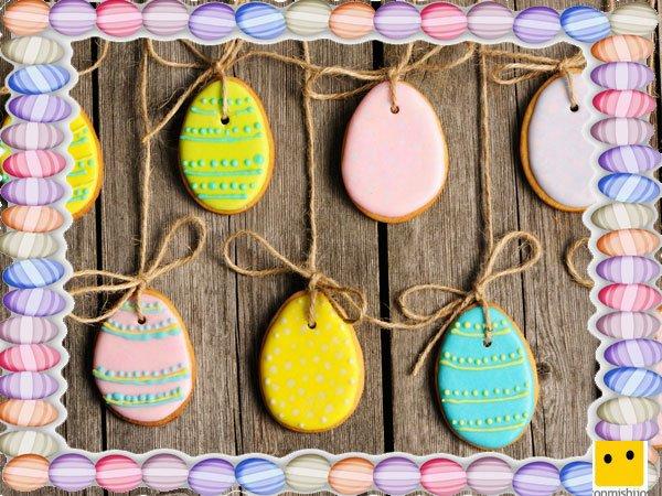 Decoración de galletas de Pascua. Huevos para colgar