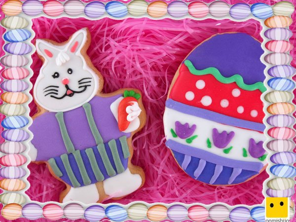 Decoración de galletas de Pascua. Conejos y huevos animados