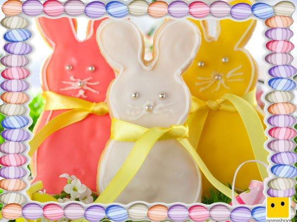 Decoración de galletas de Pascua. Conejos con lazos