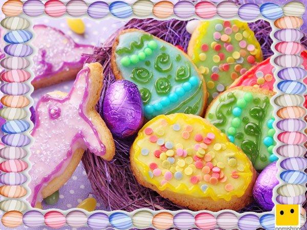 Decoración de galletas de Pascua. Huevos de colores