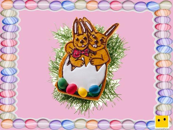 Decoración de galletas de Pascua. Conejos con caramelos