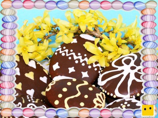 Decoración de galletas de Pascua. Huevos de chocolate