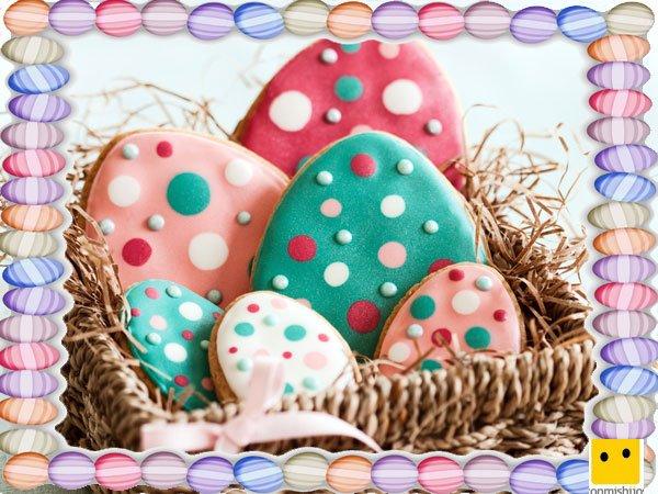 Decoración de galletas de Pascua. Huevos con caramelos