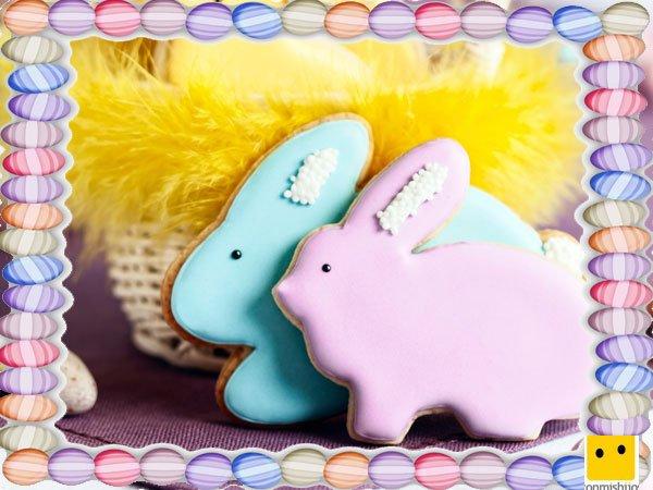 Decoración de galletas de Pascua. Conejos de colores