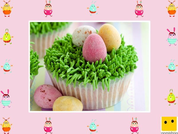 Decoración de muffins de Pascua. Huevos de campo