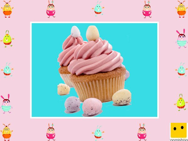 Decoración de muffins de Pascua. Crema de fresa