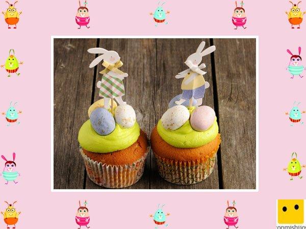 Decoración de muffins de Pascua. Muffins de zanahoria con conejos