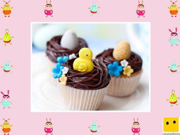 Decoración de muffins de Pascua. Huevos y pollitos