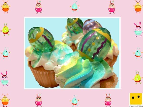 Decoración de muffins de Pascua. Huevos de cristal