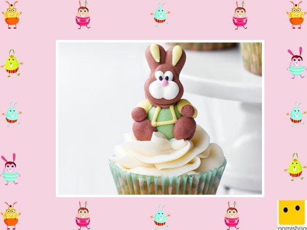 Decoración de muffins de Pascua. Conejo de jengibre