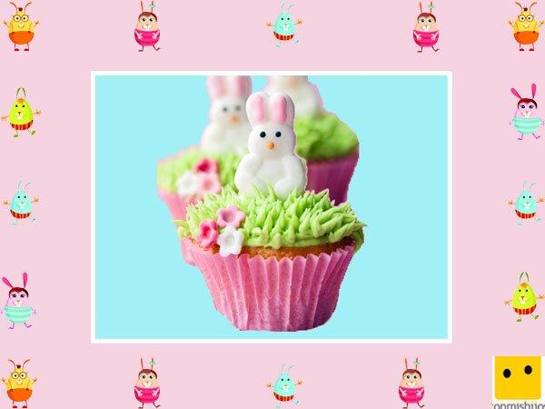 Decoración de muffins de Pascua. Conejos de nata