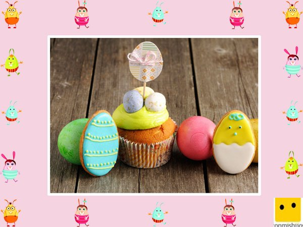 Decoración de muffins de Pascua. Huevos de decoración