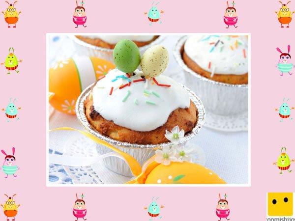 Decoración de muffins de Pascua. Nata y naranja