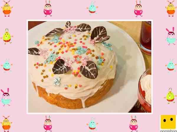 Decoración De Tartas De Pascua Pastel Con Hojas De Chocolate