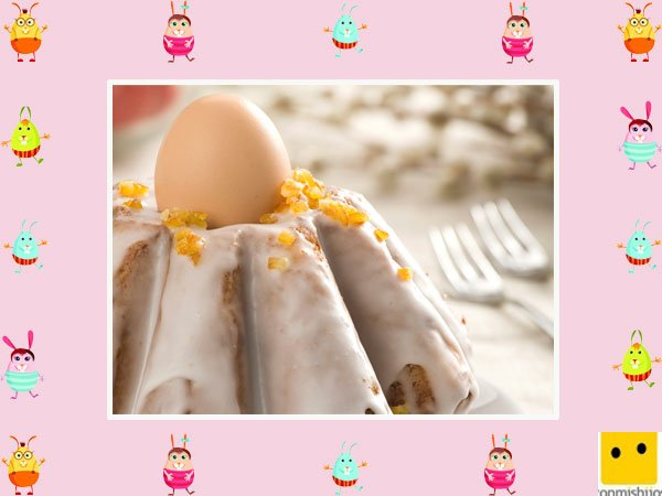 Decoración de tartas de pascua. Bizcocho con huevo