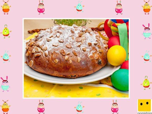 Decoración de tartas de pascua. Pastel con almendras