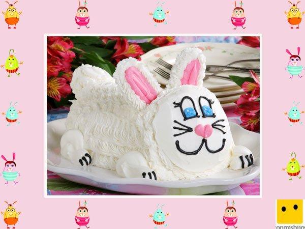 Decoración de tartas de pascua. Pastel de conejo con nata
