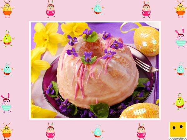 Decoración de tartas de pascua. Bizcocho de fresa