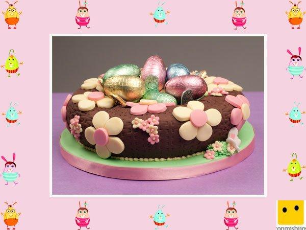 Decoración De Tartas De Pascua Pastel Con Flores Y Huevos