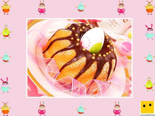Decoración de tartas de pascua. Bizcocho con chocolate y huevos