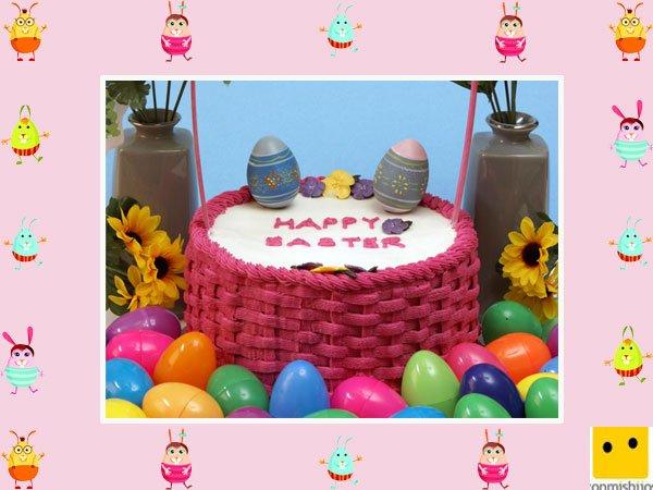 Decoración de tartas de pascua. Pastel en una cesta