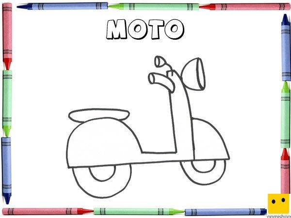 Dibujo para colorear con los niños de una moto