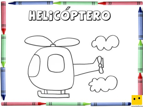 Dibujo para colorear con los niños de un helicóptero