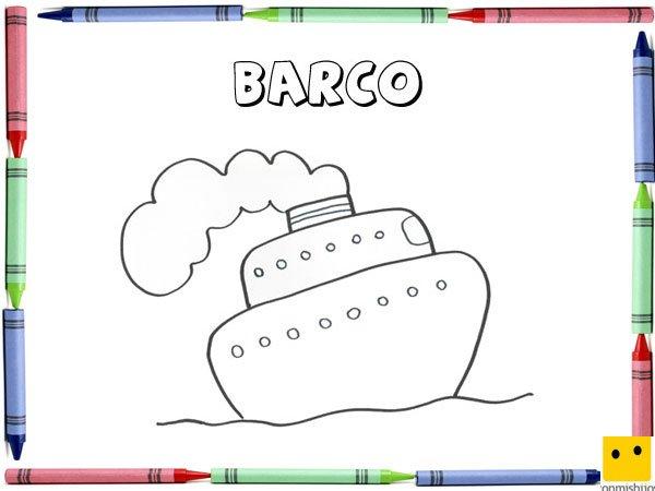 Dibujo Para Colorear Con Los Niños De Un Barco