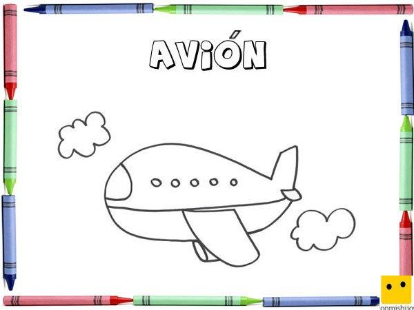 Dibujo para colorear con los niños de un avión