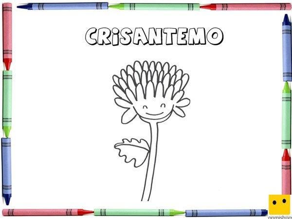Dibujo para colorear con los niños de un crisantemo