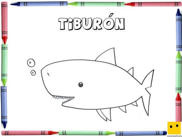 Dibujo para colorear con los niños de un tiburón