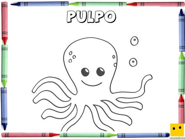 Dibujo para colorear con los niños de un pulpo