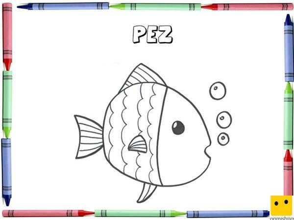 Dibujo Para Colorear Con Los Niños De Un Pez