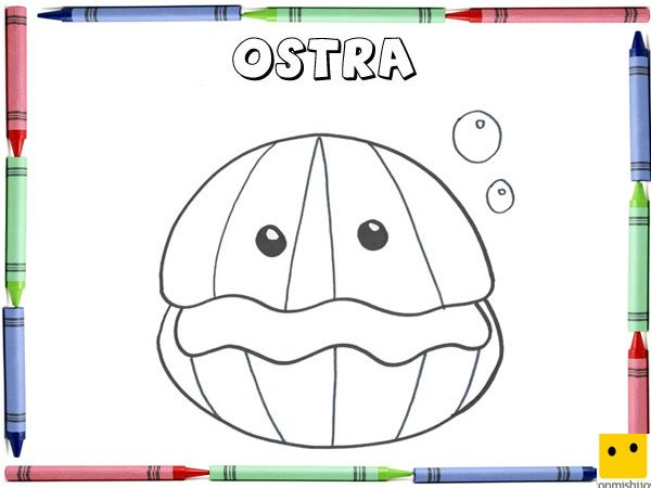 Dibujo Para Colorear Con Los Niños De Una Ostra