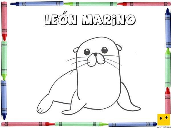 Dibujo Para Colorear Con Los Niños De Un León Marino