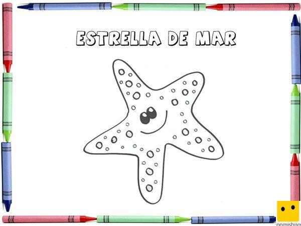 Dibujo para colorear con los niños de una estrella de mar