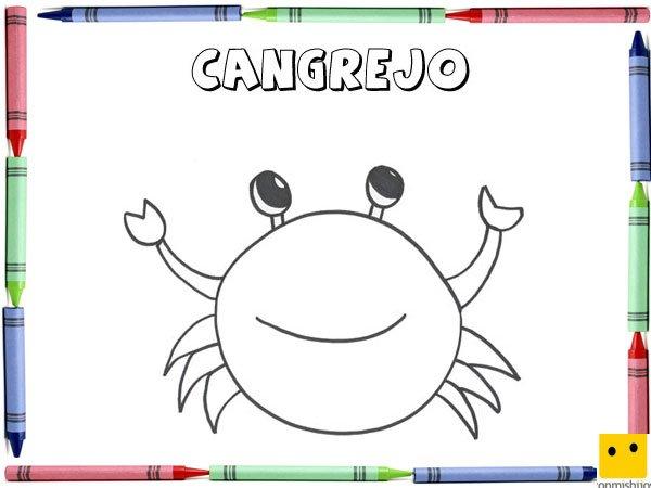 Dibujo para colorear con los niños de un cangrejo
