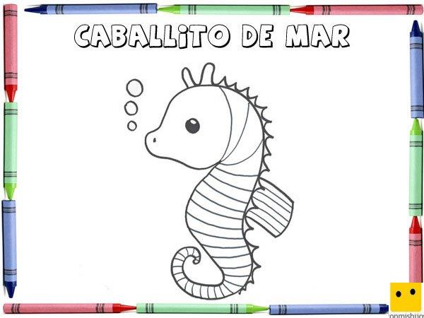 Dibujo Para Colorear Con Los Niños De Un Caballito De Mar