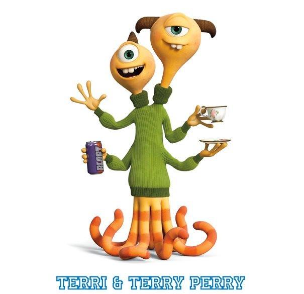Personajes de la película Monstruos University. Terri y Terry