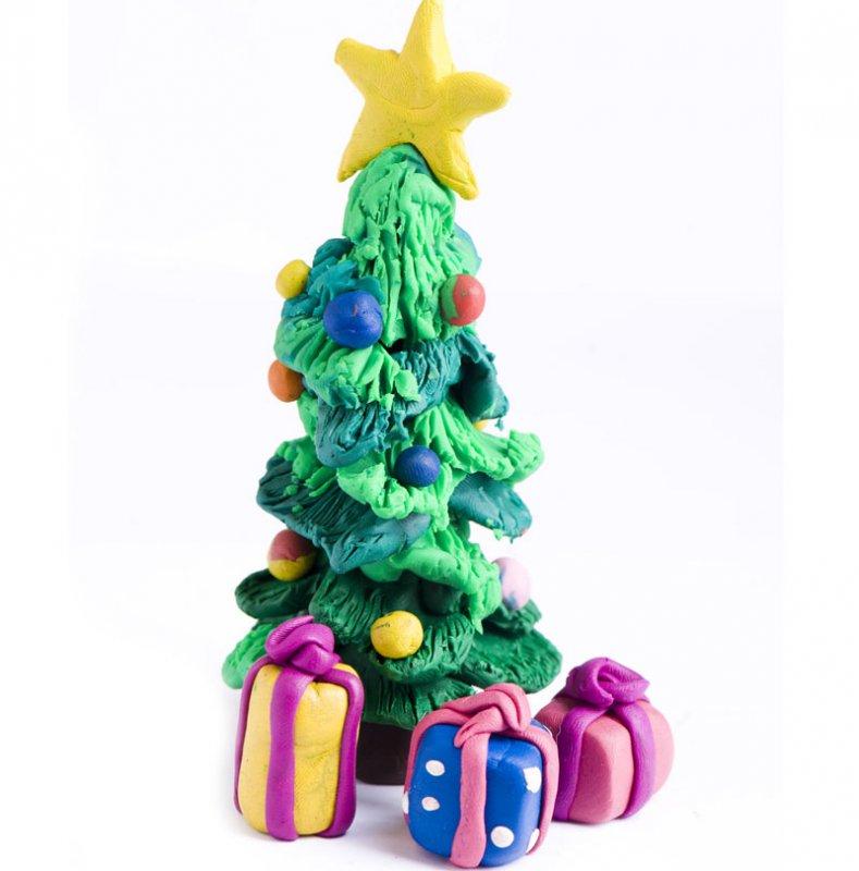 Rbol de navidad de plastilina con regalos - Arbol de navidad con regalos ...