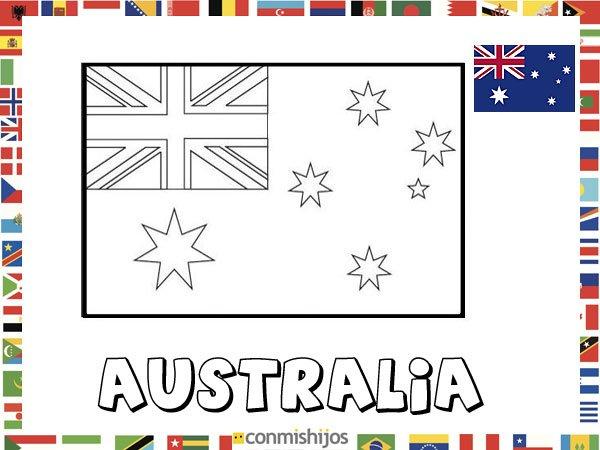 Bandera de Australia. Dibujos de banderas para pintar
