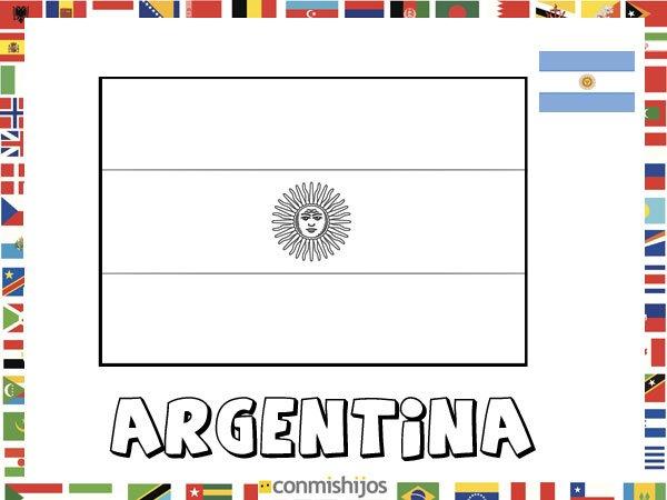 Bandera De Argentina. Dibujos De Banderas Para Pintar